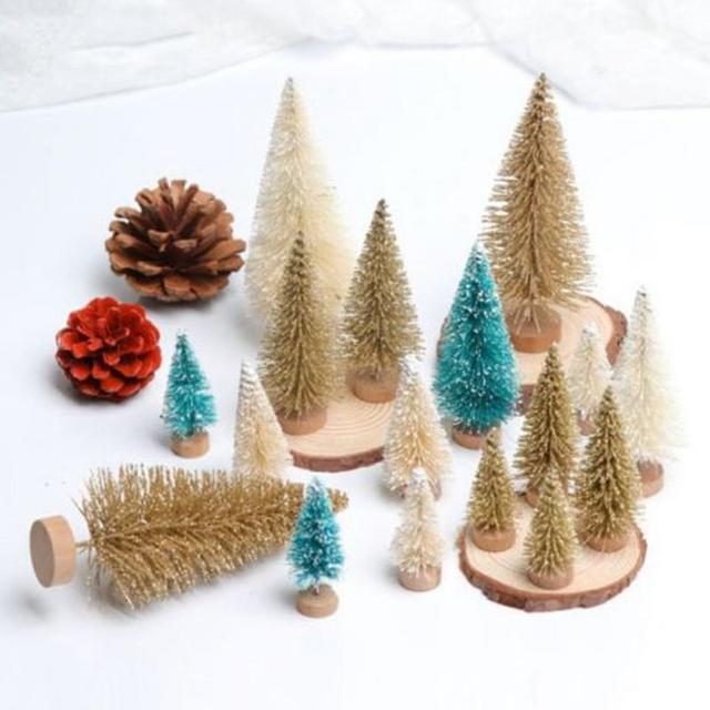 8pcs Diy Christmas Tree 3colors Small Pine Mini Trees Placed In The Desktop Home Decor