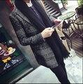 2015 otoño invierno nuevos hombres de la marca de ropa adelgazan la prendas de vestir casual houndstooth foso de lana escudo abrigos / M-XXL