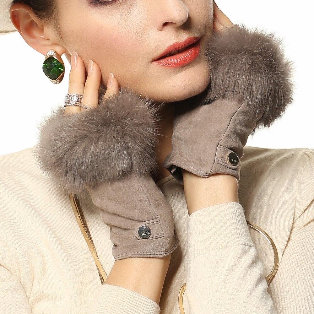 Мода волос кролика Зимние Замшевые из свиной кожи перчатки без пальцев наручные сплошной женщин реального натуральная кожа Женские водите…