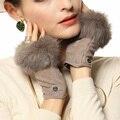 Cabelo Do Coelho da moda Inverno Camurça Pele De Porco Luvas Sem Dedos de Pulso Mulheres Reais Genuine Feminina de Couro Luva de Condução Sólida EL019NC