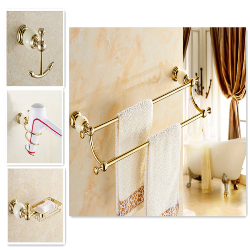 Bathroom Towel Rack Kit: Bathroom Hardware Accessories Kit With Jade Towel Bar