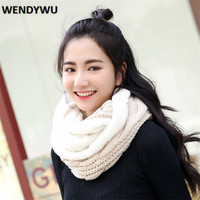 WENDYWU Winter Wool Scarf Thickening Warm Neck Sleeve Pure Color Plush Scarf
