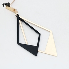 Creative in Europe And America Fashion New Style Black White zircon Earrings Exaggerated Geometric Double Ms Triangle Earri