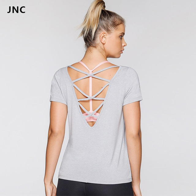 ebeb6b03f64 JNC Sexy Backless Women Short Sleeve Yoga Tops Workout Clothes Open Back  Tees Fitness Shirt Tops Activewear