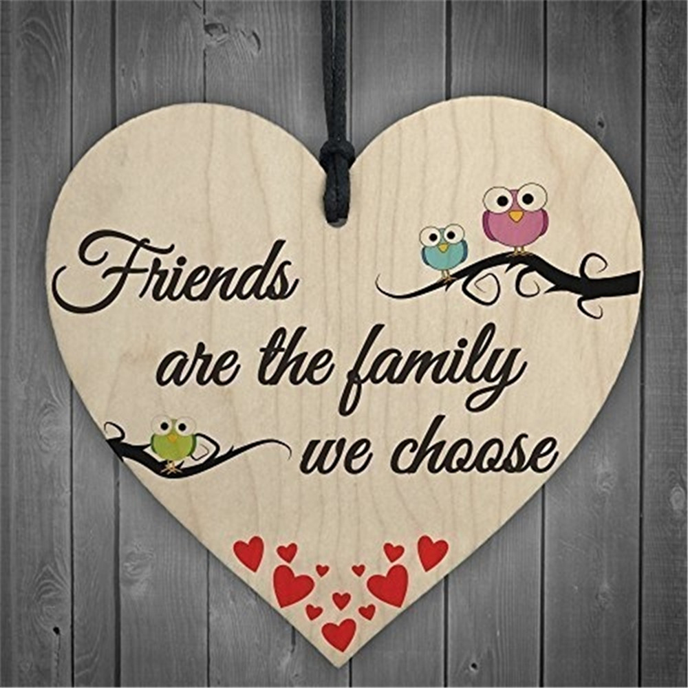 Friends We Choose Wooden Heart-shaped Wood Crafts Christmas Home DIY Tree Decorations Wine Label Small Pendant Accessories