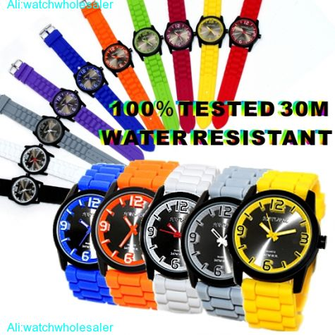 FW848G Water Resist Silicone Green Band Men Women 100% Tested 3ATM Fashion Watch