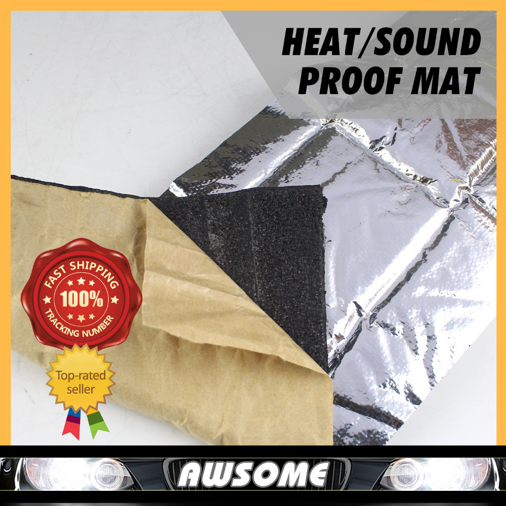 "100cmx100cm 40""x40\"" CAR TRUCK Heat Aluminum Sound Shield FOIL INSULATION Muffler For Hood Ceiling Firewall Moistureproof"