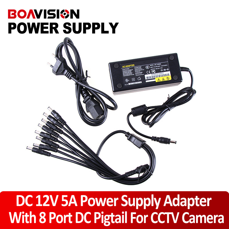 12V 5A 8 Port CCTV Camera AC Adapter Power Supply Box For The CCTV Camera dc 12v 5a ac adapter cctv power supply adapter box 1 to 8 port for the cctv surveillance camera system abs plastic