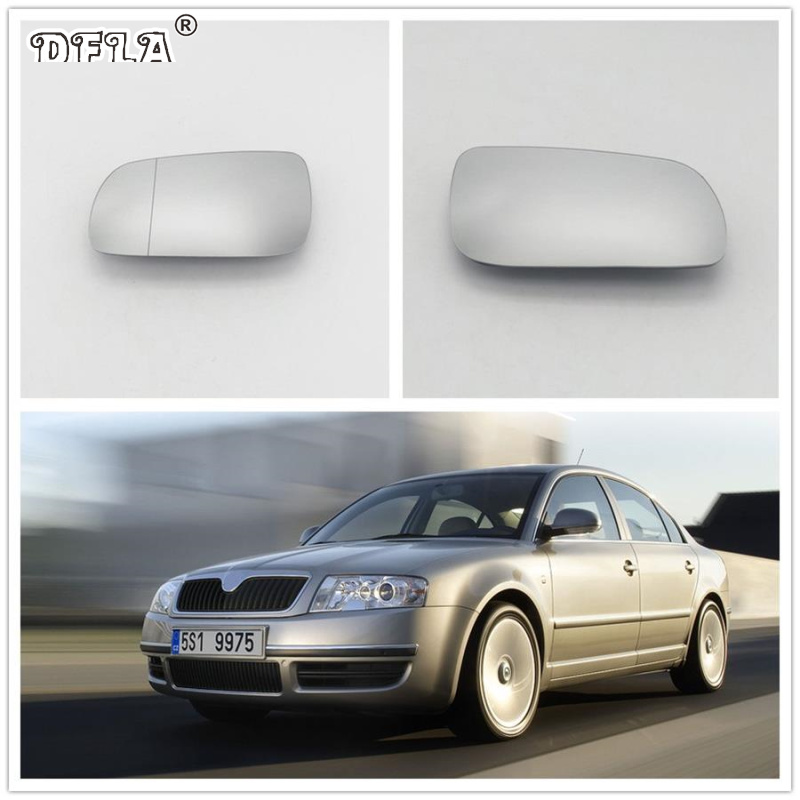 SKODA SUPERB 2002-/>2007 DRIVER//RH SIDE DOOR//WING MIRROR GLASS SILVER ASPHERIC