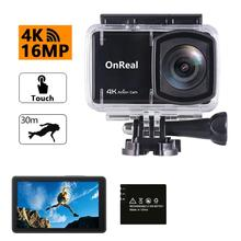 цена на EIS sport action cam OnReal B1+ 4K 6P Glass fisheye lens NTK96660+2.45 inch screen+remote watch 4K action camera
