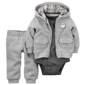 kids baby bebes boy clothes set hooded jacket+rompers+pants infant boy girl clothing Autumn Spring children suits newborn set 1
