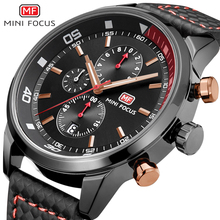 MINI ENFOQUE Reloj De Cuarzo Hombres Relojes Miltary Deporte moda casual grandes Negro Calendario Relojes de Pulsera De Cuero Para Hombre Relogio masculino