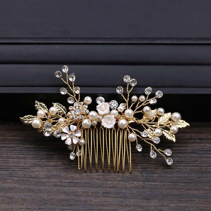 Gold Leaf Flower Pearl Rhinestone Hair Comb Wedding Hair Jewelry 6