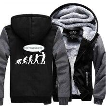 Stop Following Me Caveman Funny Thick Hooded Men 2019 Winter Warm Sweatshirt Casual Animal Coat Brand Jackets M-5XL