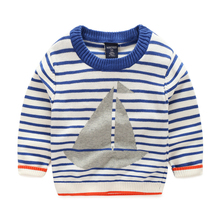 Sailing on stripe boys sweaters knitted cotton coat long sleeved clothes children clothes boy clothing in