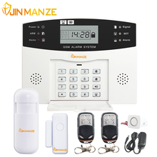 JINMANZE Wireless 433MHz Home Burglar Security SIM SMS GSM Alarm System PIR Detector Door Sensor Metal Remote Control Kit