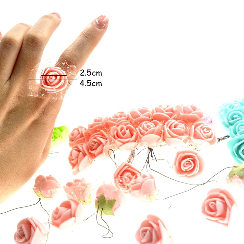 144pcs Mini Lace Yarn Edge Bubble Artificial Rose Bouquet Wedding Decoration Bride's Handmade Materials Photo Props Party Decor