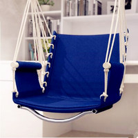 Garden Patio Porch Hanging Cotton Rope Swing Chair Seat Hammock Swinging Wood Outdoor Indoor Swing Seat Chair Hot Sale