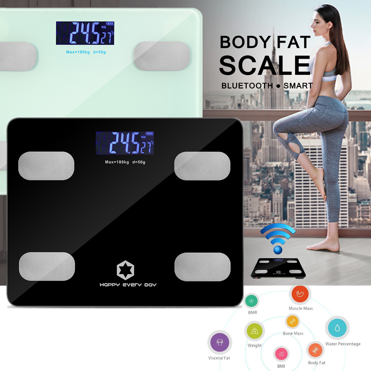 Smart Touch Weight Measure 180kg Digital Track Body Bmi Fat Timbangan Badan Personal Scale Indeks Kesehatan Art Bluetooth Lcd Bathroom Fit App Analyse Home Tempered Glass Surface