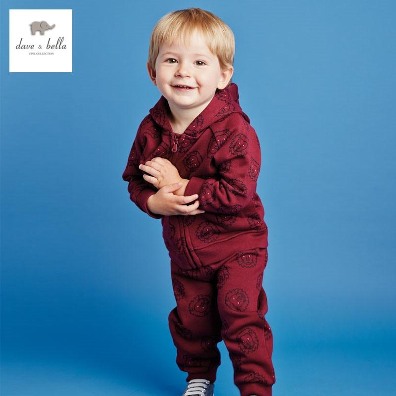 DB2899 dave bella spring long sleeve baby boy clothing sets  printed sets baby clothing sets kids clothes boys 1set children set
