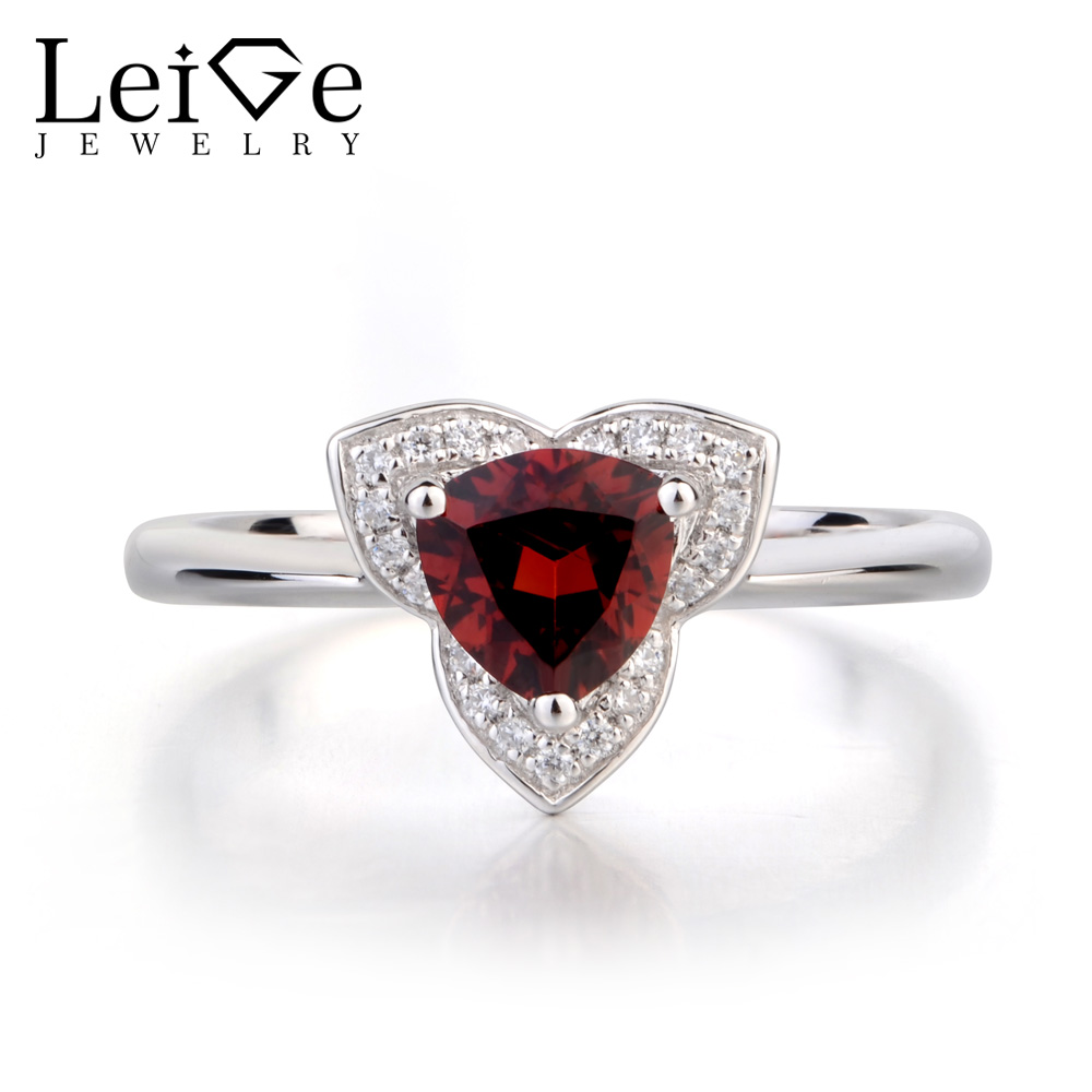 Leige Jewelry Natural Garnet Wedding Rings Solid 925 Sterling Silver Ring Trillion Cut Red Gemstone January Birthstone Ring leige jewelry natural red garnet cushion cut wedding rings january birthstone 925 sterling silver fine jewelry