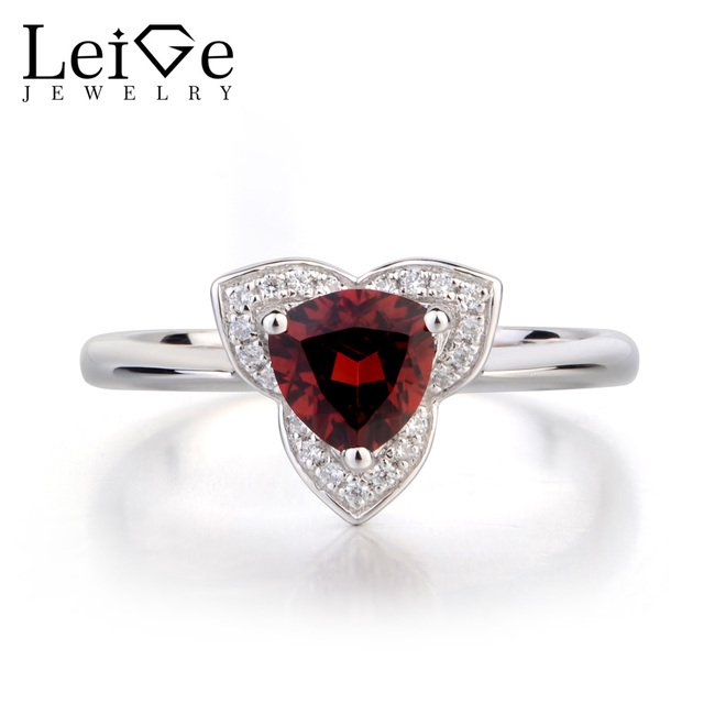 leige jewelry natural garnet wedding rings solid 925 sterling silver ring trillion cut red gemstone january - Garnet Wedding Ring