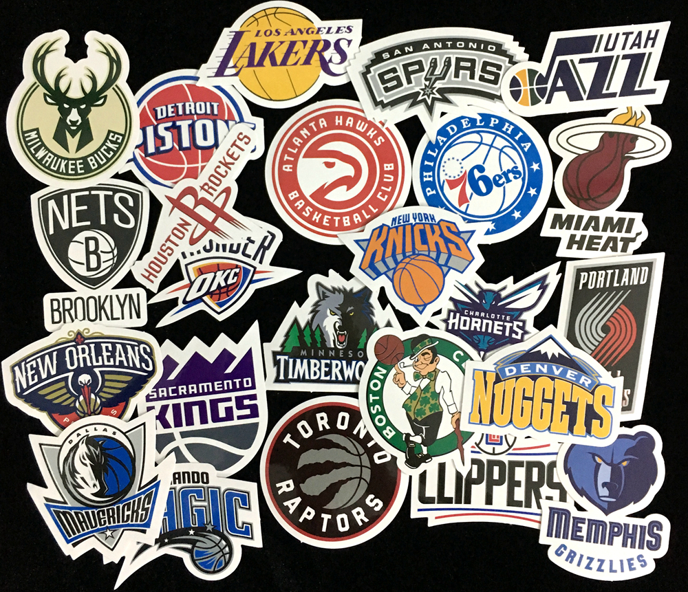 Nk 30 pcs lot nba club logo stickers waterproof sticker for car laptop trunk skateboard guitar bicycle decal car styling