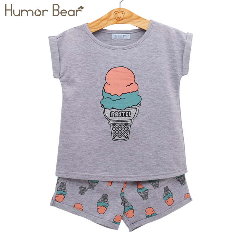 Humor Bear Grils Fashion Ice Cream Clothing Sets Brand Girls Clothes Kids Clothing Sets T-Shirt + Short 2Pcs Suits KIDS SUIT bear leader girls clothing sets 2017 brand girls clothes cartoon long sleeve girls outerwear grils skirts 2pcs for kids clothes