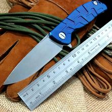 2016 Hot F95 bearing Flipper folding knife D2 blade TC4 Blue Titanium handle outdoor camping hunting pocket knife EDC tools