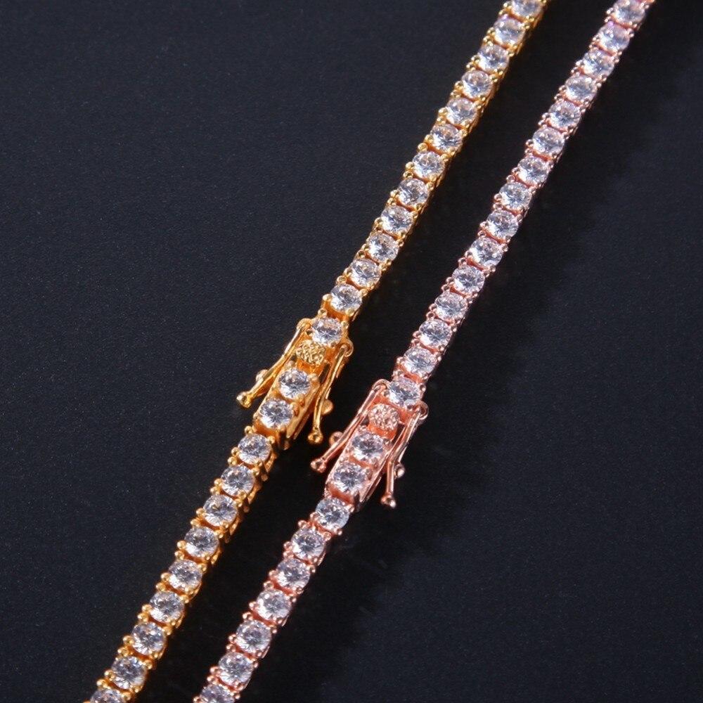 El rey BLING auténtico 100% Plata de Ley 925 exquisita mujeres hombres 3mm CZ collar lujo plata esterlina tenis encantador regalo-in Collares colgantes from Joyería y accesorios    2