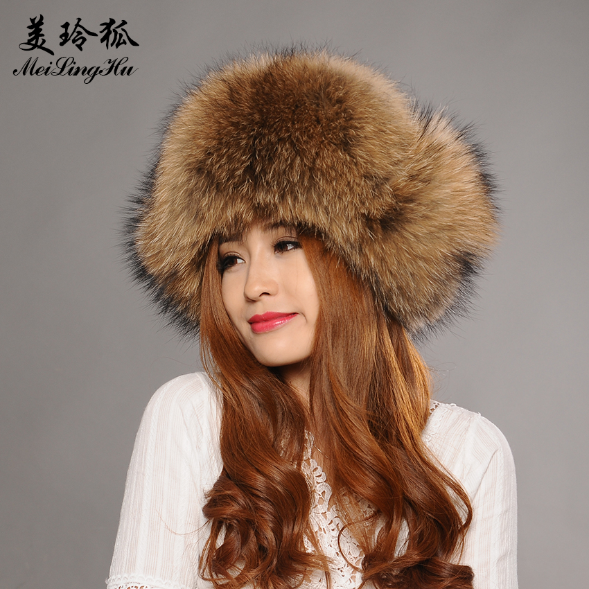 Winter Fur Hat for Men Women Real Raccoon Fur Hats Fashion Solid  High-quality Warm Male 25481cded4c2