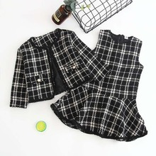 Black and White Plaid Woolen Coat Two pieces 2020 Girls Autumn Winter New Fragrance Vest Dresses + Jackets Skirt Suits for Girls