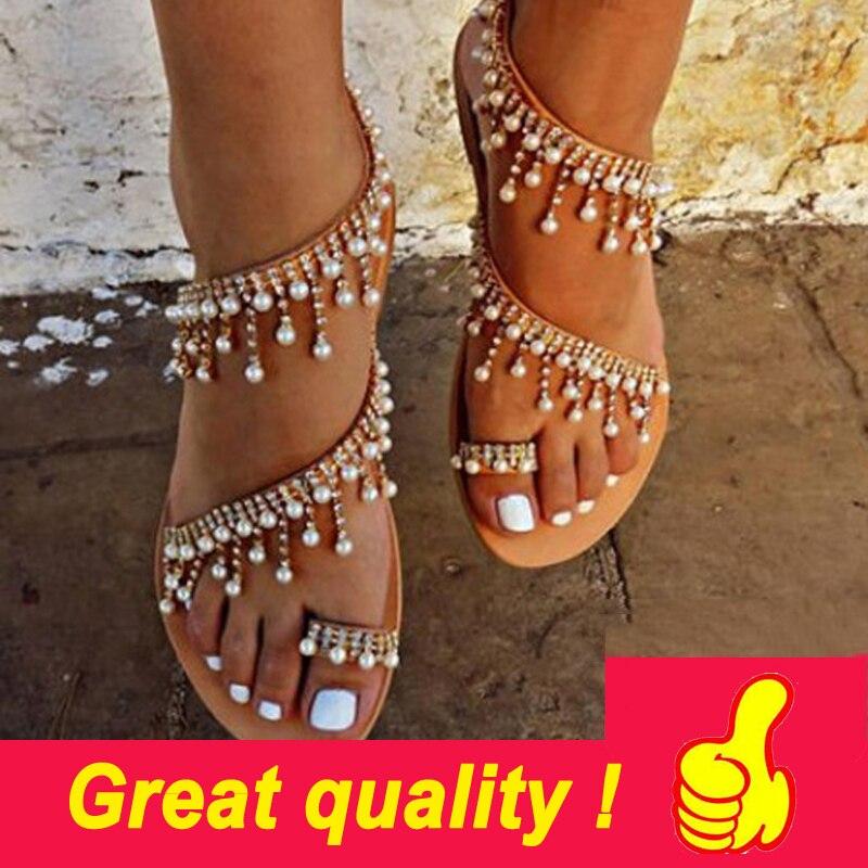 Sandalias de verano para mujer Sandalias planas de perlas cómodas zapatillas de cuentas para mujer Sandalias casuales tamaño 34-43