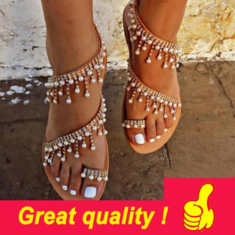 Women sandals summer shoes flat pearl sandals comfortable string bead slippers women casual sandals size 34 Innrech Market.com