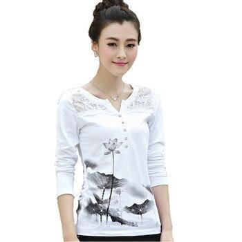 Camiseta con estampado de BOBOKATEER para mujer, camiseta de algodón con encaje, camiseta de manga larga para mujer, camiseta para mujer, camiseta 2018 para mujer