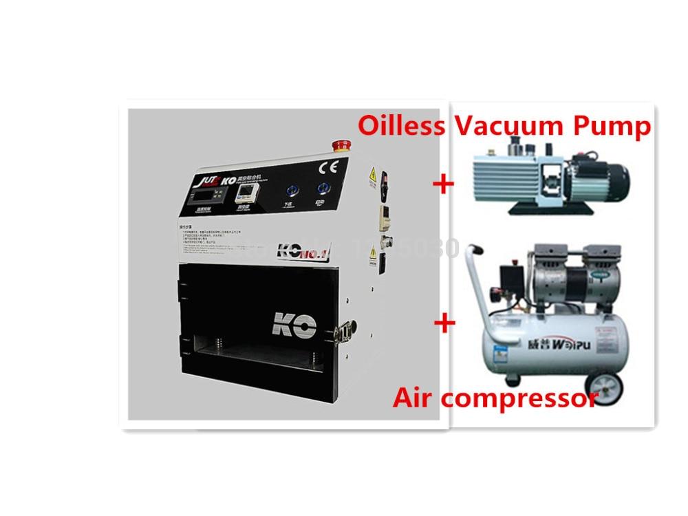 1PC 110 380V OCA Vacuum Laminating Machine+Air compressor+Oilless vacuum pump for LCD Display Screen of phone Repair/Refurbish
