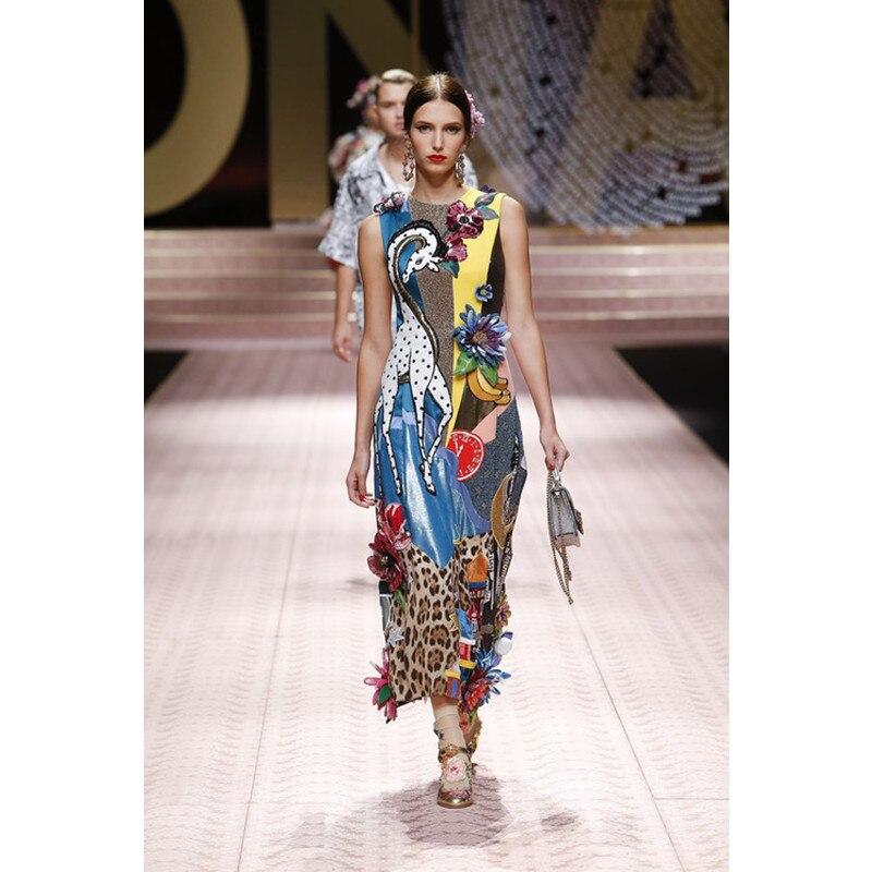 2019 Summer Runway Heavy Industry Sequins Diamond Bag Hip Slim Dress New Fashion Vintage Gorgeous Hand-painted Print Dress