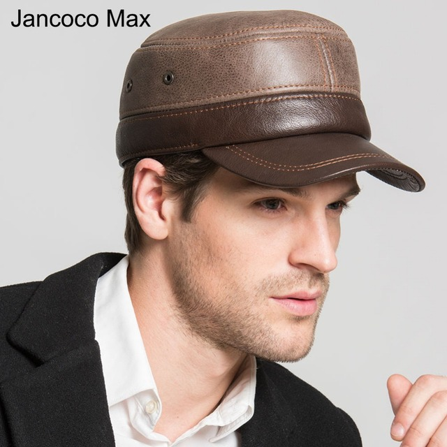 cbdfbbaa Jancoco Max New Fashion Flat Top Hats For Men's Genuine Cowhide Leather  Warm Baseball Caps With Earflaps S3052