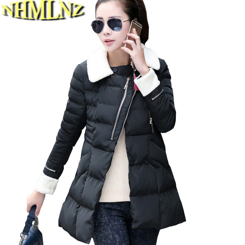 New 2017 Winter Cotton Coat Women Slim Big yards Outwear Medium-long Wadded Jacket Thick Lambs wool Warm Cotton Parka G2788 winter students women coat new style loose big yards jacket long sleeve medium long hooded jacket thick cotton warm coats g2707