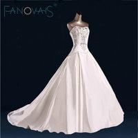 2017 Elegant Simple Satin Wedding Dress Luxury Beads Crystal Strapless Bridal Gowns Vestido De Novia Weedding