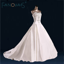 2017 elegant Simple Satin Wedding Dress Luxury Beads Crystal Strapless Bridal Gowns Vestido de Novia weedding Gowns