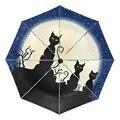 Ветрозащитный Зонт Night Sky Milky Way Moon  автоматический складной с УФ защитой  3 шт.  портативный легкий зонт с противоскользящей ручкой