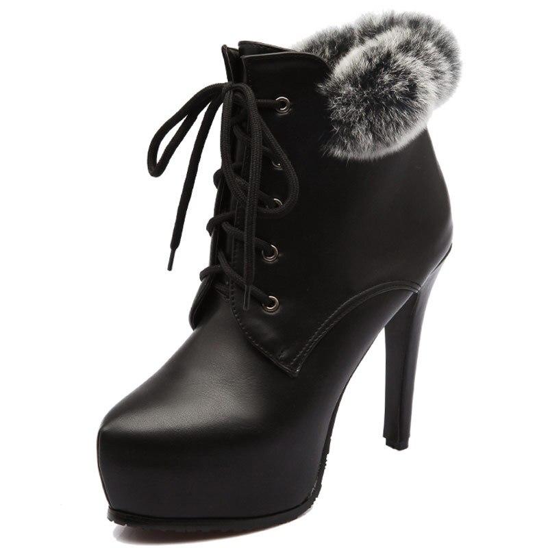 726eecfe Black Grande S225 red Botines Tacones Altos Plataforma Felpa Invierno Piel  Caliente Botas Conejo Chelsea Tamaño Mujer Zapatos ...