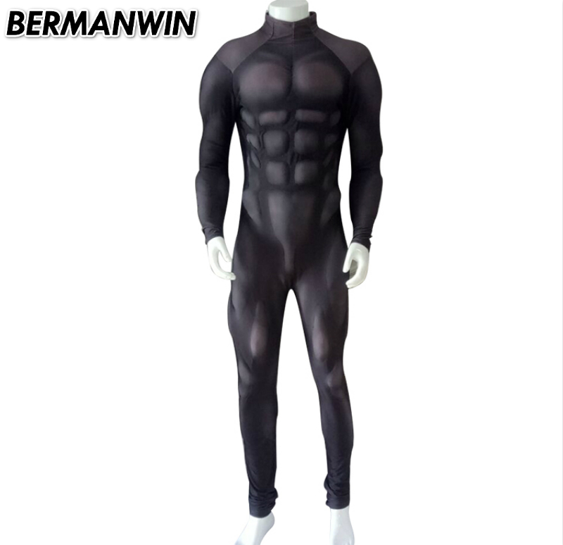 BERMANWIN High Quality New Black Muscle Suit Spandex Costume With Muscle Padding Lycra Basic Muscle Costume for halloween