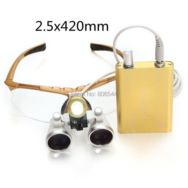 Venda Dental Médico Cirúrgica Lupas Binoculares 2.5x420 + LED Head light lamp-Golden Y8