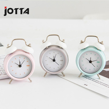 Simple solid color circular alarm clock with variable double metal decoration bedroom living room