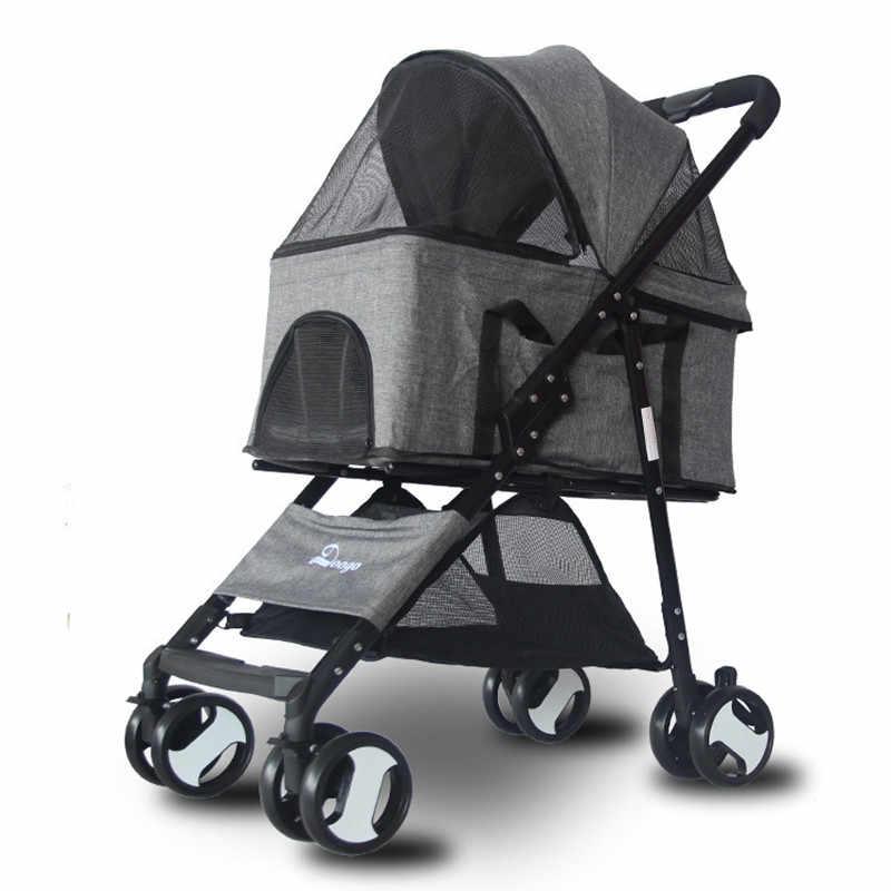 สัตว์เลี้ยงรถเข็นแบบพกพา Fordable รถเข็นเด็ก Dog Cat ตุ๊กตา StrollerCart น้ำหนักเบายานพาหนะสัตว์เลี้ยงกลางแจ้งสุนัข Cat Carrier