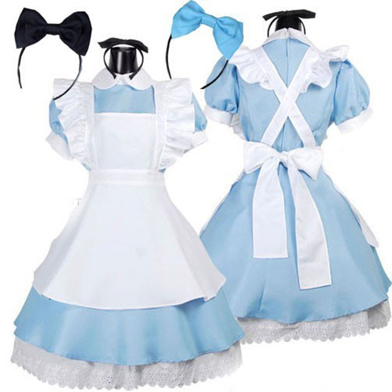 2017 New Halloween Hot Sale Alice in Wonderland Cosplay Costume Lolita Dress Maid Cosplay Fantasia Carnival Costumes for Women