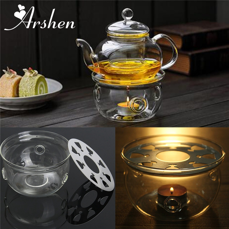 Teapot Triver Round Heating Base Coffee Water Scented Candle Clear Glass Heat-Resisting Tea Warmer Insulation Base Candle Holder