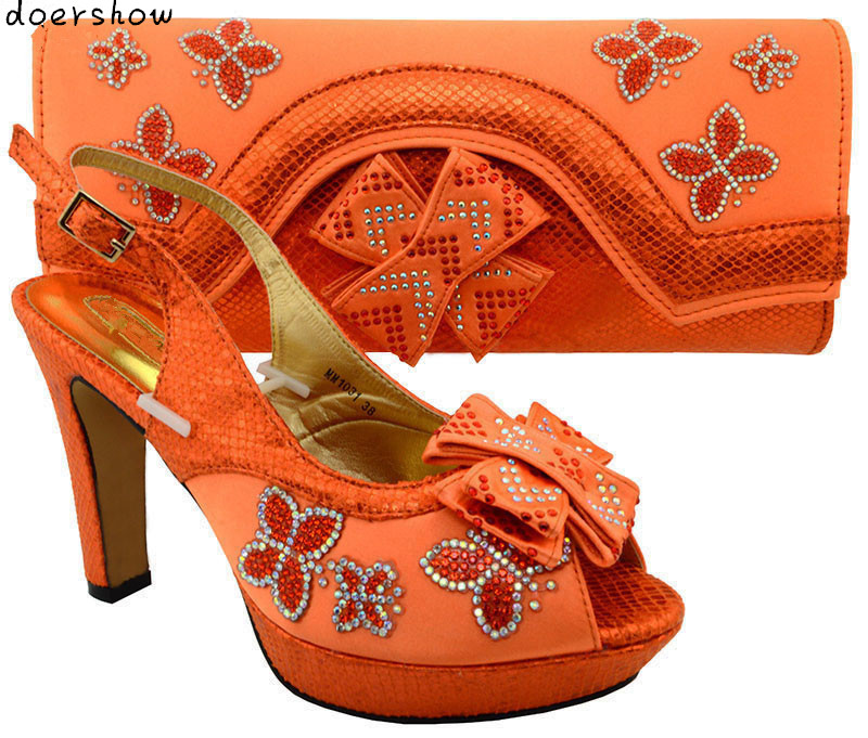 Hot Selling peach Color African Shoes and Bags Matching Set Fashion Italian Matching Shoes and Bag Set doershow MM1-49 italian shoes with matching bags african women shoes and bags set in hot selling blue shoes and bag set to matching hjx1 12